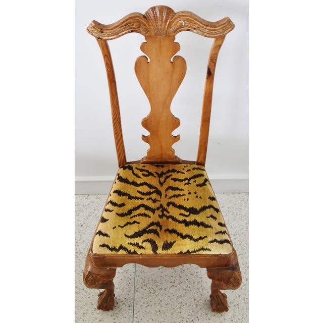 Italian Scalamandre Le Tigre (Tiger) Velvet Side Chairs - Pair For Sale In Los Angeles - Image 6 of 13