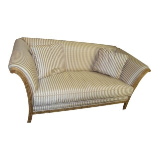 J. Scott Stripe Settee Sofa with Gold Wood Frame For Sale