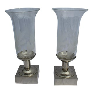 Modern/Deco Design Hi-Polished Nickel Cut Glass Shade Hurricane Vases - a Pair Clear Glass For Sale