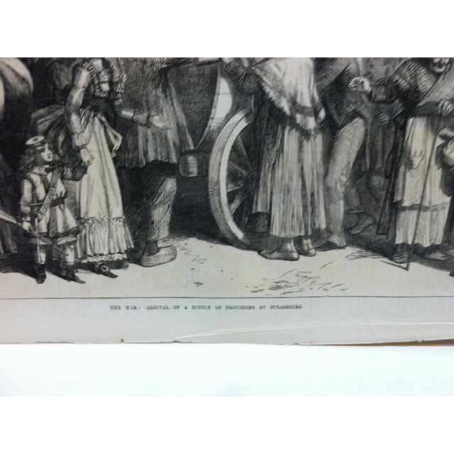 """English Traditional Antique 1870s """"The War - Arrival of a Supply of Provisions at Strasbourg"""" Print For Sale - Image 3 of 6"""