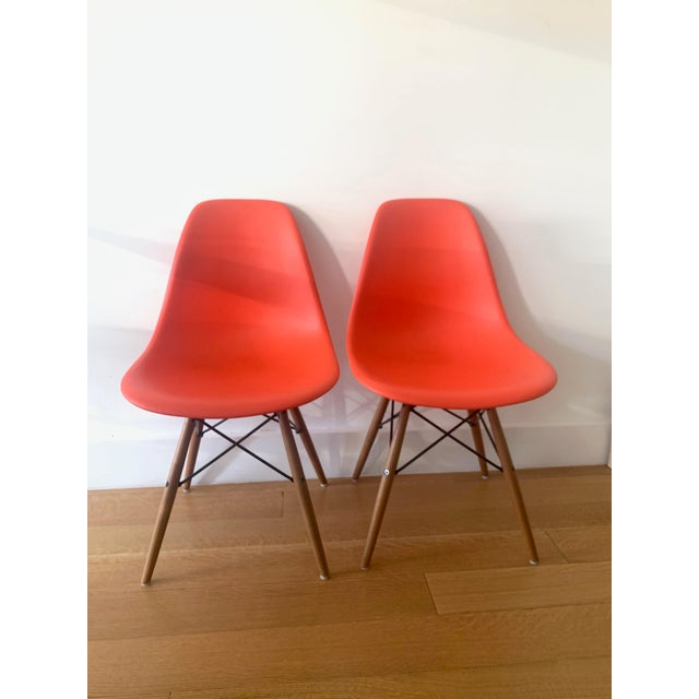 2000 - 2009 Eames Molded Plastic Side Chairs - A Pair For Sale - Image 5 of 5