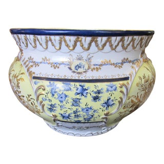 Continental Floral Handpainted Jardiniere For Sale