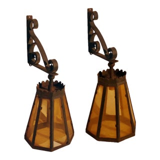 1930s Arts and Crafts Style Lanterns on Scrolled Wrought Iron Brackets With Rust Finish - a Pair For Sale