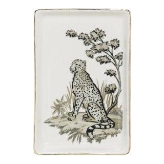 Stoneware Leopard Tray W/ Gold Edge For Sale