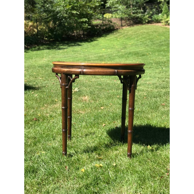 Faux bamboo side table by John Widdicomb, 'makers of fine furniture'. Dark faux bamboo frame and legs. Burled walnut top....