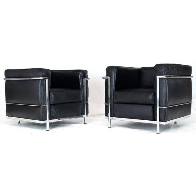 Set of three living room pieces designed by Le Corbusier and manufactured by Alivar the first licensed manufacturer....