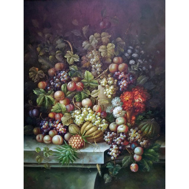 Mid 20th Century Fruit Still Life Oil Painting on Canvas by M. Picot For Sale - Image 5 of 9