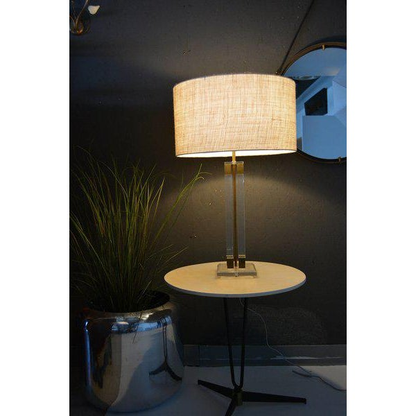 For your consideration, Lucite and Brass Table Lamp, Attributed to Charles Hollis Jones. Lamp shade not included. For...