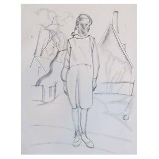 Magazine Print, Sketch by Jar Pitsza - Girl 1920s For Sale