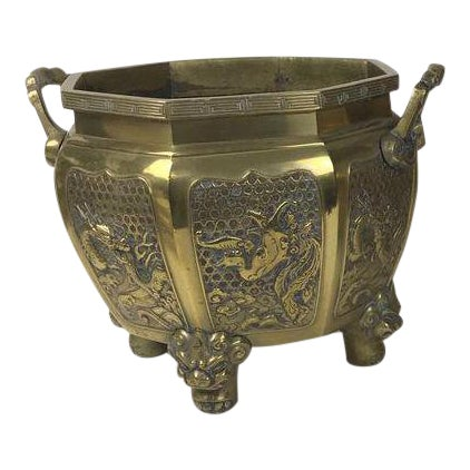 Japanese Brass Planter For Sale