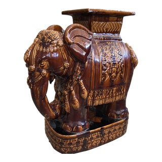 1960s Chinoiserie Clay Elephant Garden Stool