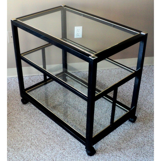 Pierre Vandel Style Black & Gold Trimmed Bar Cart For Sale - Image 5 of 6