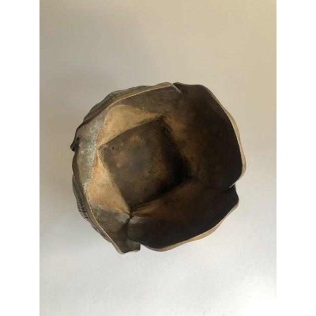 Hollywood Regency Vintage Brass Seashell Planter For Sale - Image 3 of 7