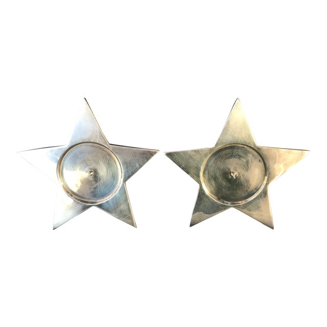 Vintage Star Shape Solid Brass Pillar Candle Holders - a Pair For Sale