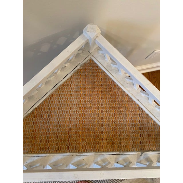 Shabby Chic Corner Lattice Shelf/Plant Stand With Rattan Lining For Sale - Image 4 of 7