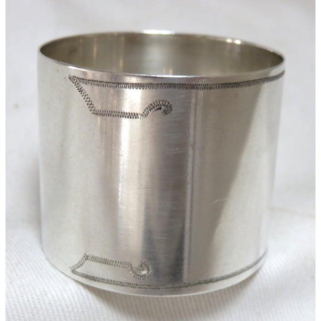 1800's Antique Sterling Silver Napkin Ring For Sale - Image 4 of 6