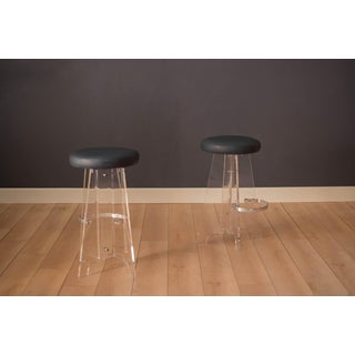 1970s Vintage Lucite and Leather Bar Stools- A Pair Preview