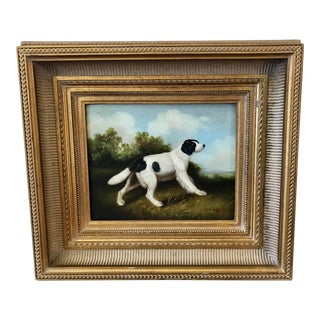 English Spaniel Signed Oil on Canvas Painting