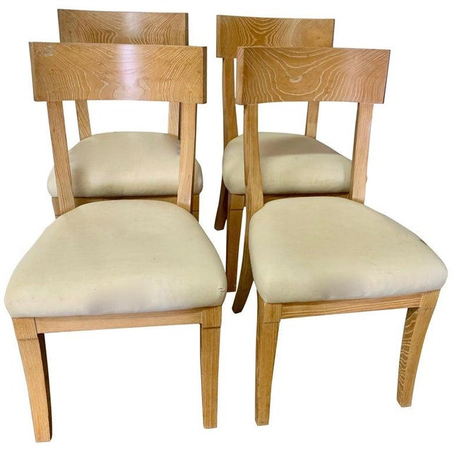 Wood Set of Four Cerused Oak Dining Chairs For Sale - Image 7 of 7