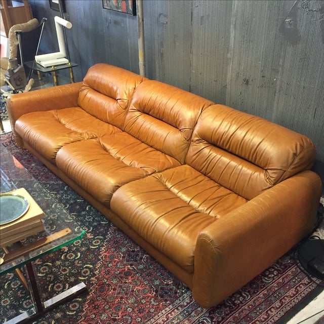 Vintage 1970s Leather and Chrome Sofa - Image 5 of 9