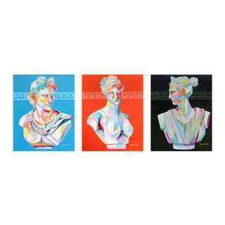Greek Bust Triptych by Jennifer Sparacino in White Framed Paper, Small Art Print For Sale