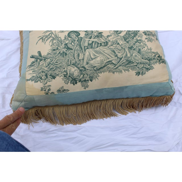 20th Century French Blue Toile Very Soft Down Pillow For Sale - Image 12 of 13