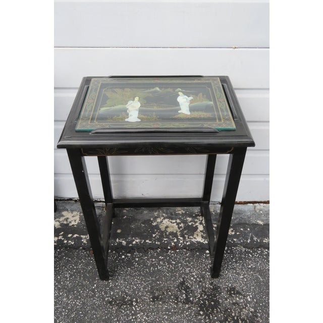 Oriental Black Painted Nesting Tables Set of Four For Sale - Image 9 of 13