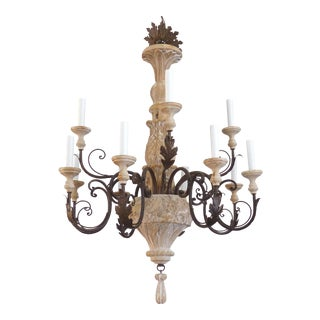 12 Light Wood & Iron Chandelier & Canopy