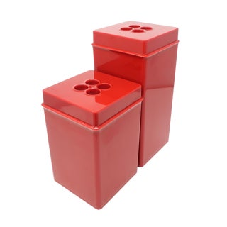 Vintage Red Dansk Storage Containers For Sale