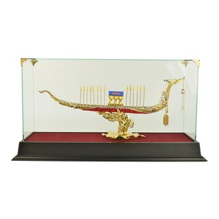 24k Gold Plated Ship Sculpture For Sale