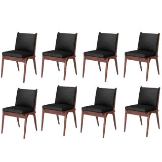 Mid-Century Modern Side Chairs Made of American Walnut With Black Leather Cushions For Sale