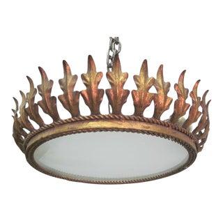 French Modern Neoclassical Gilt Iron Sunburst Fixture or Pendant
