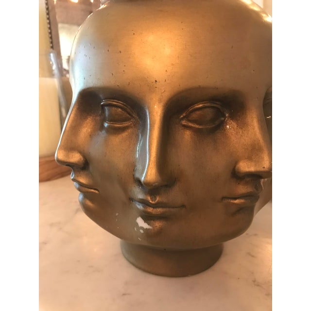 Abstract Modern Pietro Fornasetti Style Dora Marr Gold Perpetual Face Vase For Sale - Image 3 of 8