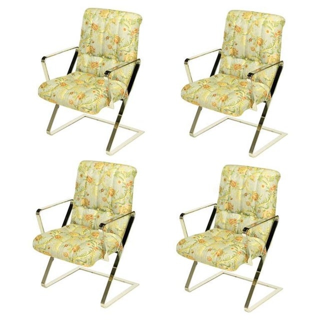 Four Channeled & Button Tufted Chrome Z-Frame Dining Chairs For Sale - Image 10 of 10