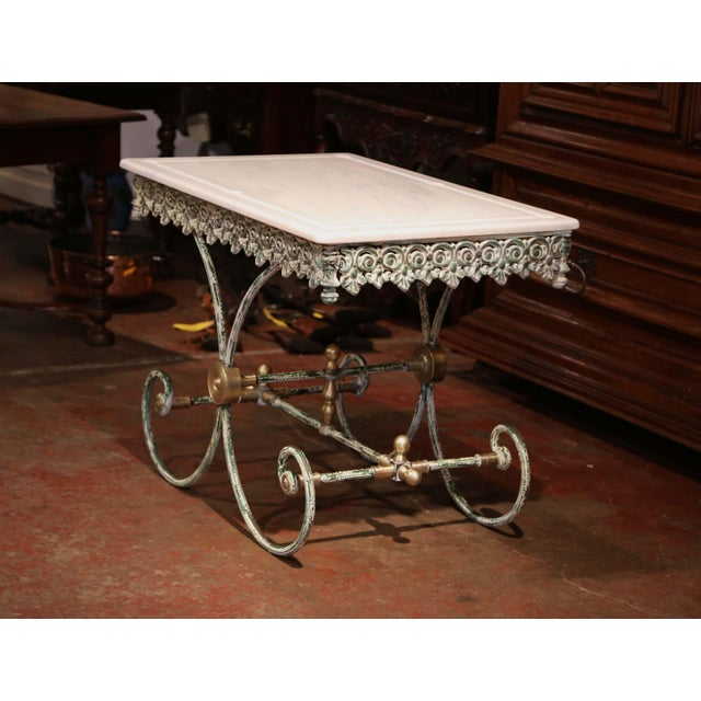 White Painted French Iron Butcher or Pastry Table With Marble Top and Brass Finials For Sale - Image 8 of 12