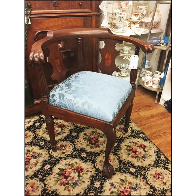 Victorian Ornate Wood Blue Corner Chair - Image 2 of 9