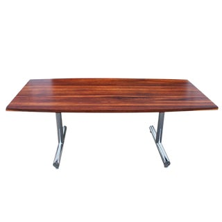 Rosewood and Chrome Dining Table Desk For Sale