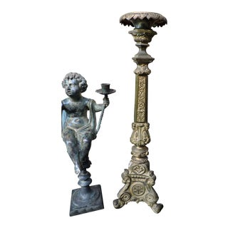 French Gilded Church Candlestick With Christian Symbols For Sale