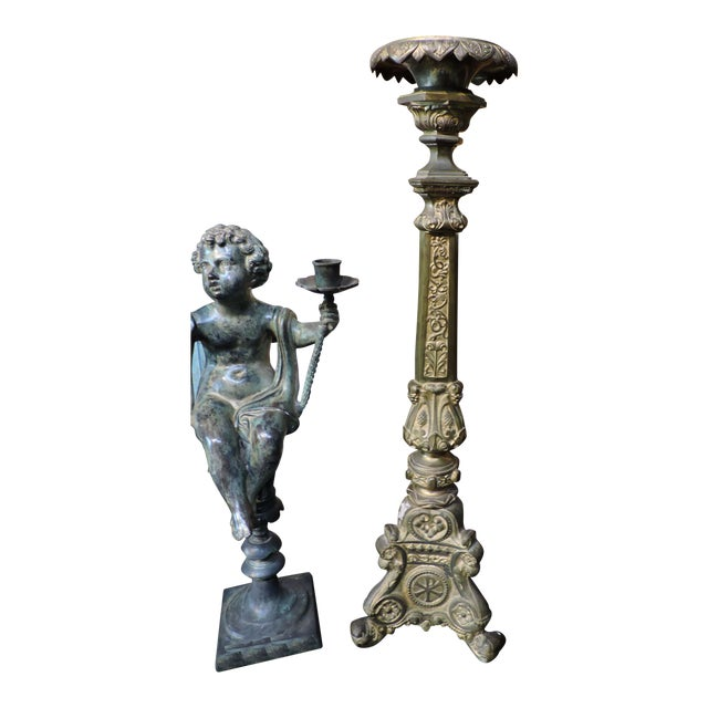 French Gilded Church Candlestick With Christian Symbols - Image 1 of 6