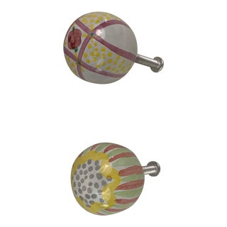 1990s Vintage Mackenzie Childs Cabinet Knobs- A Pair For Sale