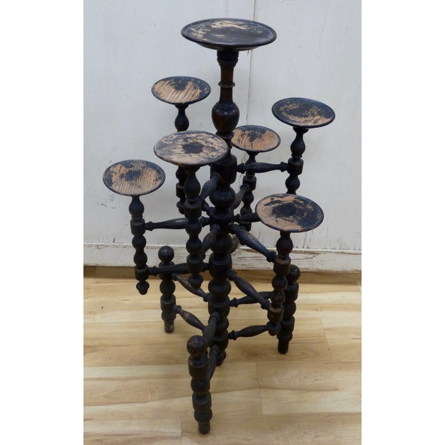Distressed English Candle Stand - Image 2 of 4