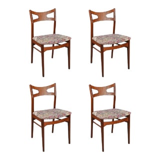 Floral Teak Dining Chairs, 1960s - Set of 4 For Sale