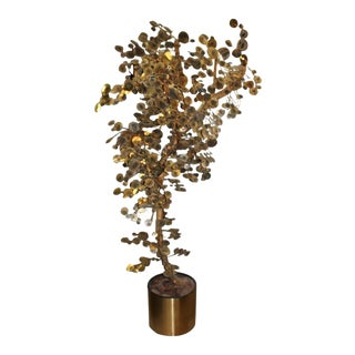 Curtis Jere Vintage Brass Raindrop Tree Sculpture