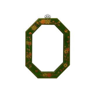 Chinese Green Leather Flower Octagon Mirror