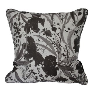 """Contemporary Lulie Wallace Double Sided 20"""" Down/Feather Pillow in Charcoal Black """"Liv"""" Pattern For Sale"""