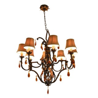 Fine Arts Lamps Wrought Iron Tuscan Style Chandelier With Shades & Amber Prisms For Sale
