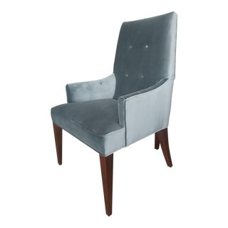 Henredon Furniture Barbara Barry Slate Grey Velvet Dining Arm Chair in Walnut For Sale