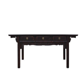Chinese Oriental Brown Ru Yi Drawers Altar Foyer Side Console Table For Sale