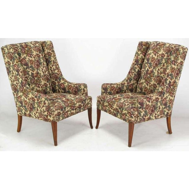 Pair Low-Arm Wing Chairs In Grosfeld House Manner - Image 2 of 9