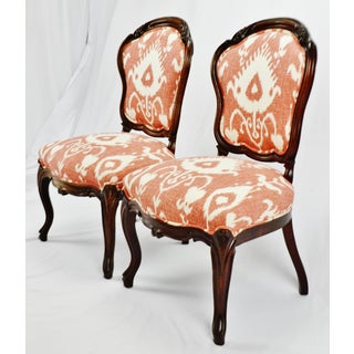 Vintage Victorian Style Upholstered Accent Chairs - a Pair Preview